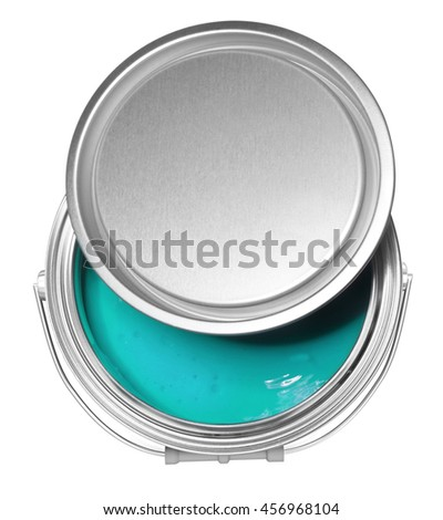 Turquoise blue paint can and cover, isolated on white background