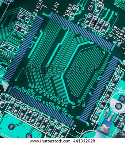 turquoise blue pcb motherboard chip microchip integrated circuit board pattern background - stock photo
