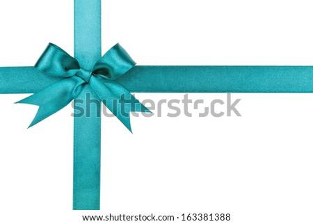 Turquoise bow isolated on white background - stock photo