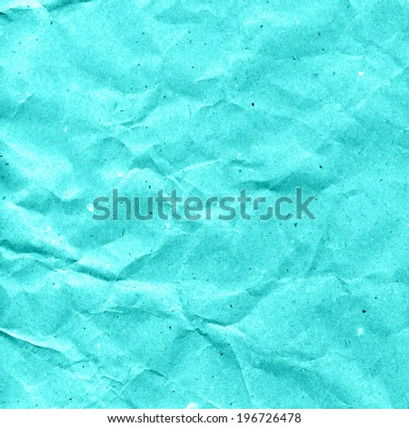 Turquoise crumpled paper texture or abstract background - stock photo