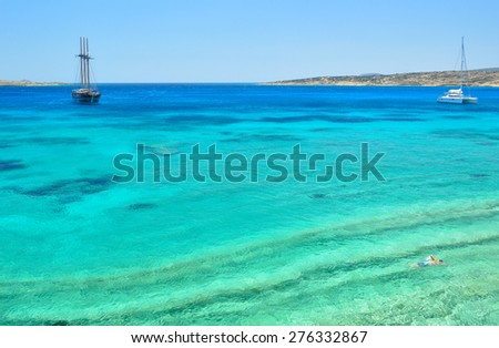 Turquoise crystal clear waters of paradise island Koufonisia, Small Cyclades archipelago, Greece
