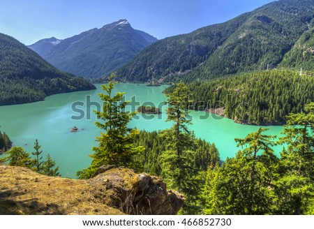 Turquoise Diablo Lake seen from the Diablo Lake Overlook in North Cascades National Park, Washington.