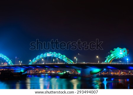Turquoise Dragon bridge in Danang Vietnam