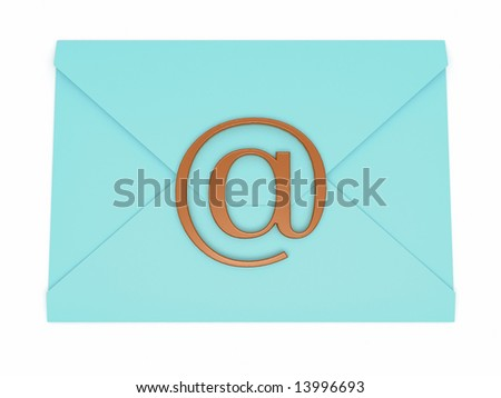 turquoise envelope with sign e-mail