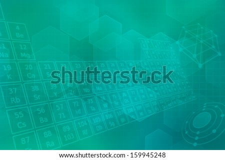 Turquoise futuristic background with  periodic table of elements - stock photo