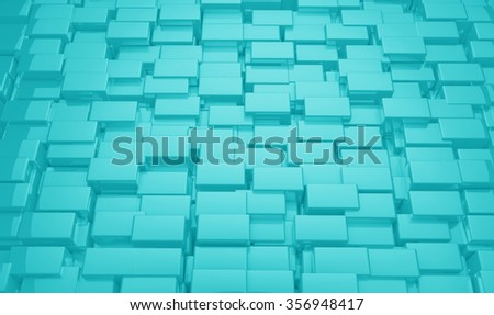 Turquoise Geometric 3d Cubes Background Texture