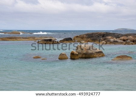 Turquoise Great Southern Ocean with granite rock on the coast at Green's Pool in Denmark, Western Australia/Green's Pool's Turquoise Waters/William Bay National Park, Western Australia