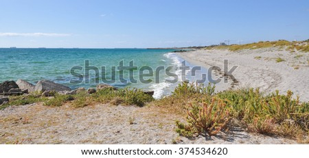 Turquoise Indian Ocean waters with sandy beach and coastal plants/Quiet Beach/Indian Ocean in Fremantle - stock photo