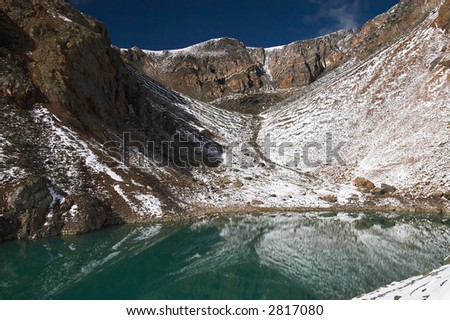 Turquoise lake and mountains. Altay. Russia.
