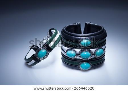 Turquoise leather bracelet - stock photo