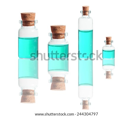 turquoise liquid in bottles with cork isolated on white background