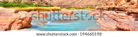 Turquoise Little Colorado River in Grand Canyon. - stock photo