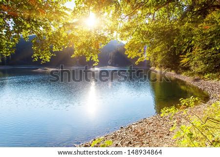 Turquoise mountains lake Synevir. Carpathian mountains, Ukraine, Europe. Beauty world. - stock photo
