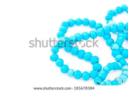 Turquoise necklace isolated on white