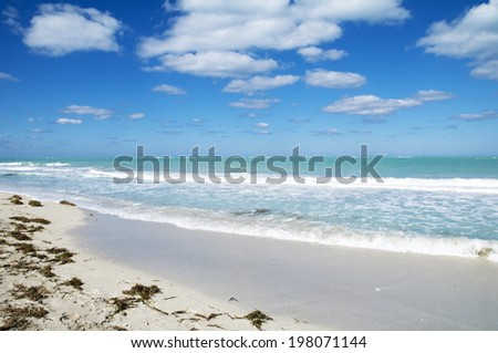 Turquoise ocean at a tropical beach - stock photo