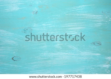 Turquoise painted wood background. - stock photo