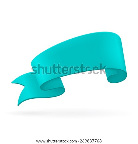 Turquoise ribbon. Abstract scroll paper vector background. Design element. Ribbon banner. Isolated on a white background. Raster copy. - stock photo