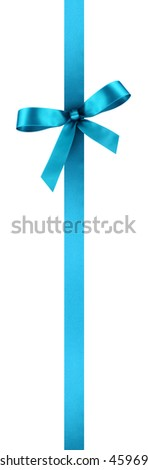 Turquoise Satin Gift Ribbon with Decorative Bow - Vertical Banner Illustration Isolated on White Background - stock photo