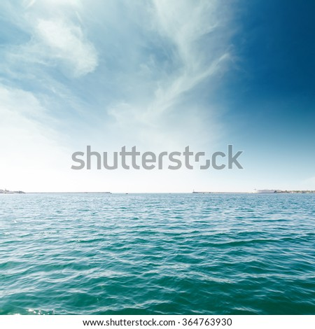 turquoise sea and clouds in blue sky. Sevastopol, Ukraine