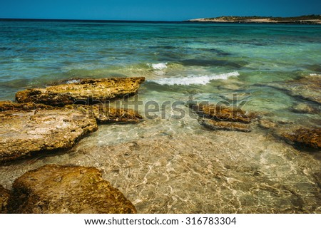 Turquoise sea bay at Majorca, Balearic island, Spain - stock photo