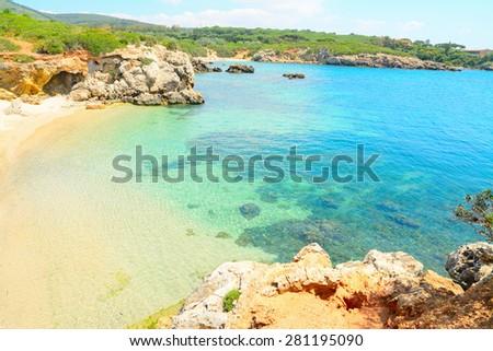 turquoise sea in Alghero shore, Sardinia - stock photo