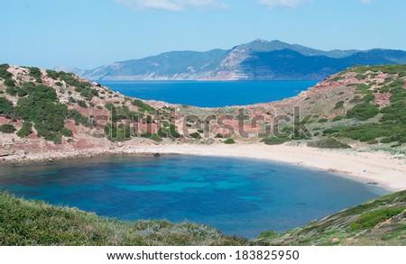 turquoise sea in Porticciolo, Sardinia - stock photo