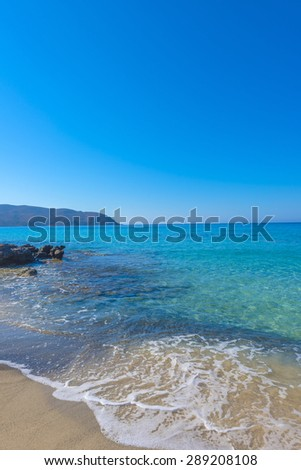 Turquoise sea water at Kedrodasos beach, Crete