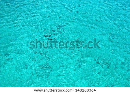 Turquoise sea water in Balos lagoon, view from above  - stock photo