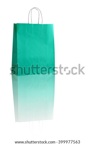 Turquoise shopping bag on white with reflexion (with space for your logo or text)