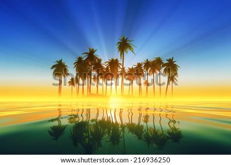 turquoise sun rays inside coconut palms island on tranquil tropic sea - stock photo