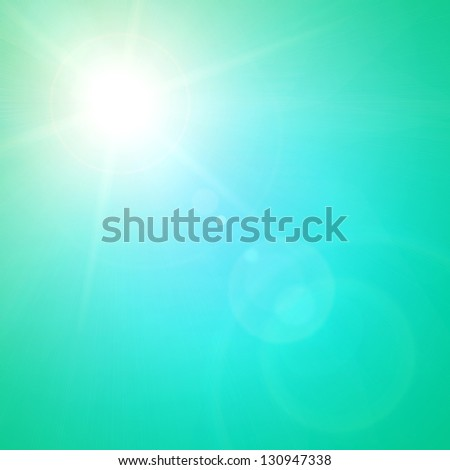 turquoise sunny spring background with place for text - stock photo