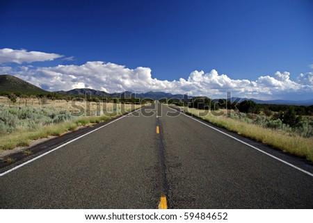 Turquoise Trail heading south toward  Alburquerque, New Mexico - stock photo