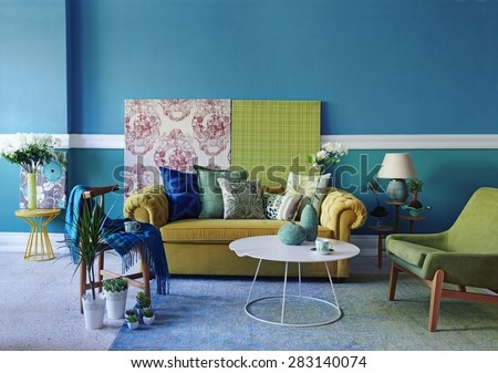 turquoise wall living room - stock photo
