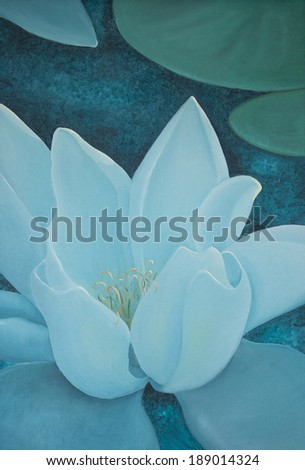 Turquoise water lily oil painting closeup, with a sense of calm focus, vertical format.  - stock photo