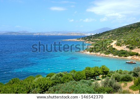 Turquoise water near beach on Mediterranean turkish resort, Bodrum, Turkey - stock photo