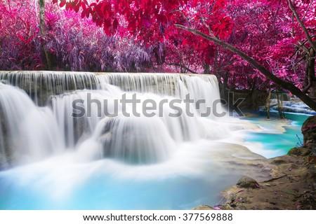 Turquoise water of Kuang Si waterfall, Luang Prabang. Laos - stock photo