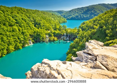 Turquoise water of Plitvice lakes national park in Croatia - stock photo