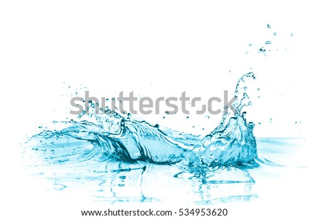 turquoise water splash, isolated on white