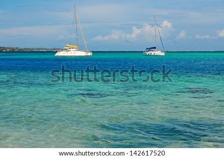 Turquoise Waters off Moorea, Tahiti in French Polynesia - stock photo
