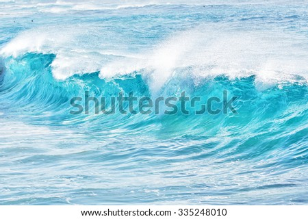 turquoise waves at Sandy Beach, Oahu, Hawaii, USA - stock photo