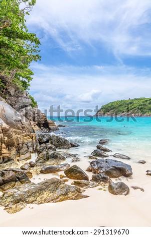 Turquoise waves of the Andaman Sea. Koh Racha. Thailand. - stock photo