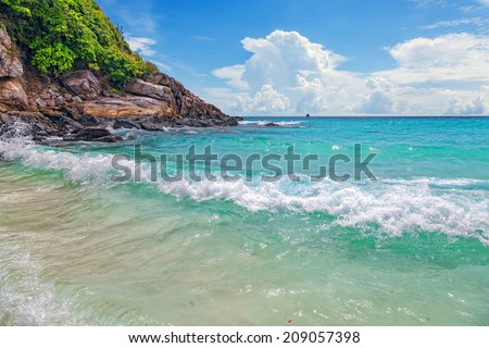 Turquoise waves on the island of Ko Racha Yai. Thai Phuket Province - stock photo