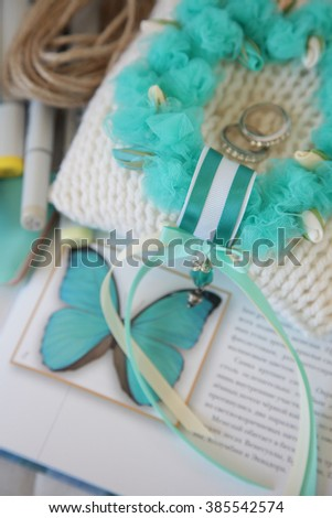 Turquoise Wedding Ring Pillows. Wedding cushion for rings in the form of a wreath of flowers.  - stock photo
