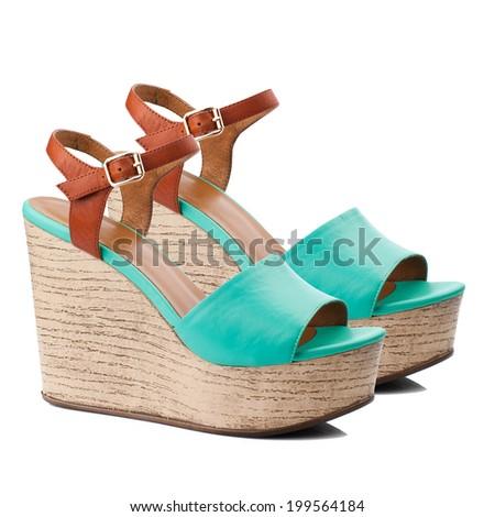 Turquoise  women shoe isolated on white background. - stock photo
