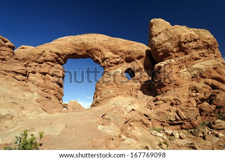 Turret Arch in Arches National Park in Utah - stock photo