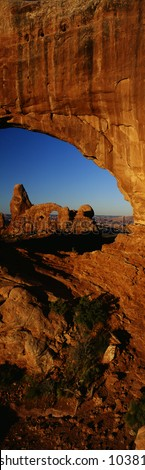 Turret Arch through North Window, Arches National Park, Utah - stock photo