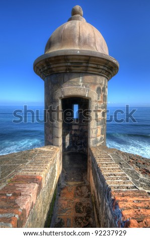 Turret at Castillo San Cristobal in Old San Juan, Puerto Rico. - stock photo