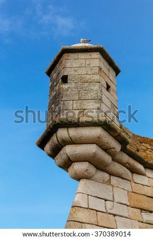 Turret of the Castelo do Queijo or Cheese Castle in Porto. - stock photo
