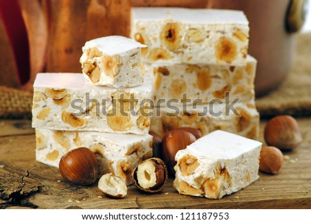 Turron or nougat sweets.Winter holidays sweets.Traditional italian sweets.