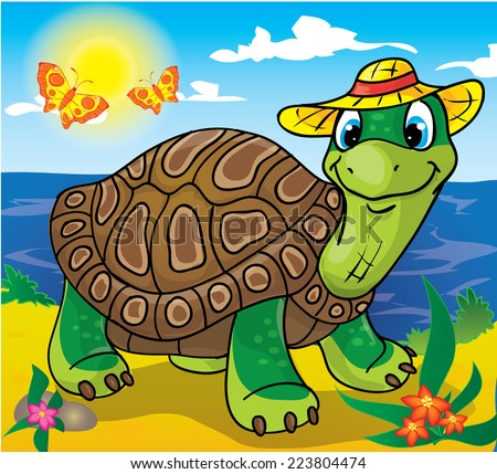 Turtle resting on the beach wearing a hat  - stock photo